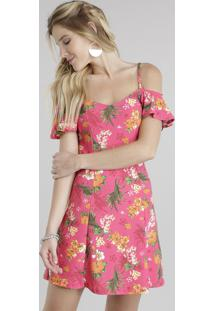 Vestido Open Shoulder Estampado Floral Pink