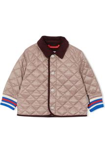 Burberry Kids Corduroy-Trimmed Quilted Jacket - Cinza