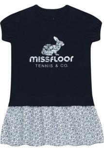 Vestido Em Spandex Marinho - Missfloor 1497Mf10694 Vestido C/ Barra Voil E Arte Cotton Marinho-2