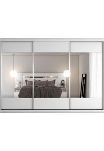 Guarda Roupa Milano 3 Portas Espelhadas Branco Acetinado
