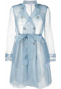 Redvalentino Trench Coat Point D'Esprit Translúcido - Azul