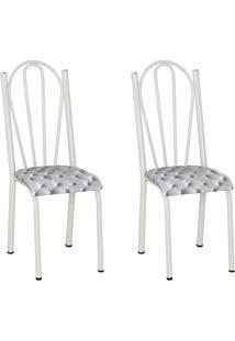 Conjunto 2 Cadeiras Mnemósine Branco E Estampa Capitonê