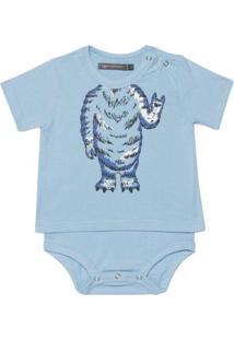 Body Bebê Que Te Encante Camiseta Monstrinho Masculino - Masculino-Azul