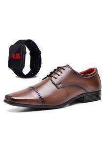 Sapato Social Com Relógio New Dubuy 807Mr Marrom