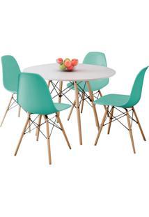 Conjunto Sala De Jantar Mesa Eiffel Branco 100 Cm Com 04 Cadeiras Eames Eiffel Verde Tiffany D'Rossi