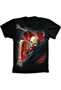 Camiseta Baby Look Lu Geek Skull Caveira Preto - Tricae