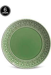 Jogo De Pratos Sobremesa 6 Pçs Greek Verde Sálvia Porto Brasil