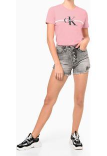Camiseta Mc Ckj Fem Re Issue Faixa - Rosa Claro - Gg