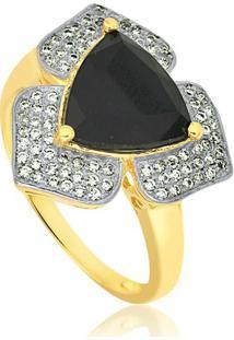 Anel Flor Com Zircônias Cristal E Black Banhado Em Ouro 18K 14