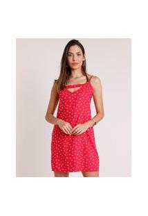 Vestido Feminino Curto Estampado De Poá Com Abertura Alça Fina Rosa Escuro