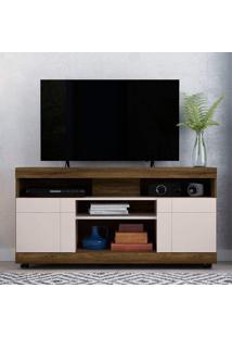 Rack Para Tv Até 50 Polegadas 2 Portas 4 Nichos Yara Colibri Canela Rústico/Off White