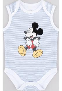 Body Infantil Mickey Listrado Sem Manga Branco