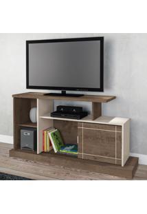 Rack Para Tv Até 47 Polegadas Aruba 1 Porta Moccacino Rústico/Natura Off White - Atualle Móveis