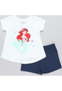 Conjunto Infantil Pequena Sereia Ariel De Blusa Manga Curta Off White + Short Em Moletom Azul Marinho
