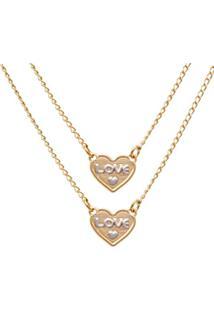 Escapulário Prata Mil Com Corações Love Dourado