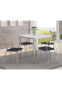 Mesa 1510 Branca Cromada Com 4 Cadeiras 1700 Preta Carraro