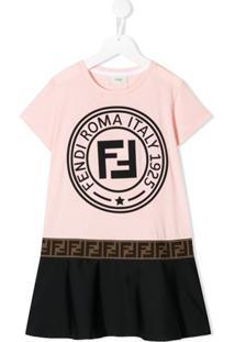 Fendi Kids Vestido Com Logo - Rosa