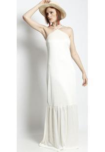 Vestido Longo Texturizado Com Pregas - Off White - Ppusco