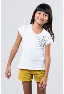 Camiseta Infantil Bolso Mundo Reserva Mini Feminina - Feminino-Branco