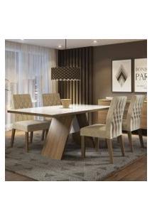 Conjunto Sala De Jantar Madesa Joana Mesa Tampo De Vidro Com 4 Cadeiras Rustic/Branco/Imperial