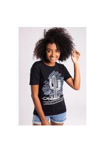 Camiseta Bossa Brasil Cactus Preto