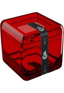 Porta Algodão E Cotonetes Cube Vermelho Transparente Coza