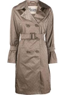 Herno Trench Coat Com Estampa De Logo - Marrom