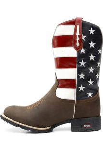 Bota Ellest Texana Bandeira Eua Bico Redondo 0903 Marrom