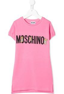 Moschino Kids Vestido Com Estampa De Logo - Rosa