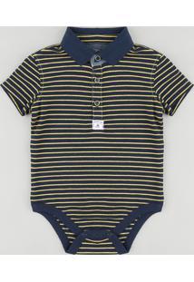 Body Polo Infantil Listrado Em Piquet Manga Curta Azul Marinho