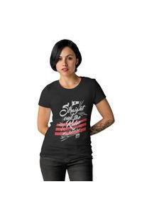 Camiseta Feminina Ezok Caution Sk8R Preto