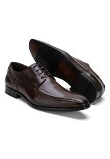 Sapato Social Masculino Em Couro De Amarrar Reta Oposta