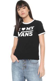 Camiseta Vans Love Ringer Preta/Branca