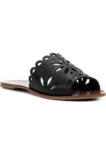 803a8836b0 Rasteira Couro Shoestock Slide Flor - Feminino