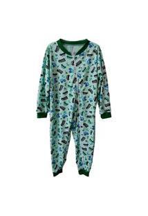 Pijama Infantil Macacão Carrinho Menino Com Ziper Do Rn Ao G Branco