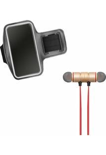 Kit Braçadeira Esportiva Running Armband E Fone De Ouvido Xt-6 Bluetooth - Unissex