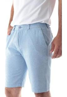 Bermuda Traymon Sarja Regular Com Elástico Masculina - Masculino-Azul Claro