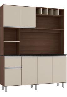 Cozinha Compacta 6 Portas E 1 Gaveta Alice-Poliman - Amendoa / Off White