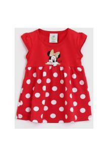 Vestido Brandili Infantil Minnie Vermelho/Branco