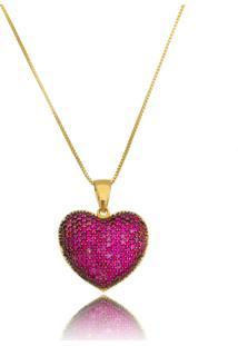 Colar Coração Drusi Cravejado De Zircônias Rubi Dourado