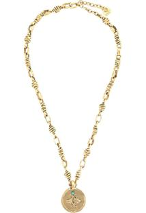 Goossens Talisman Taurus Medal Necklace - Dourado