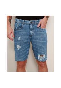 Bermuda Jeans Masculina Slim Destroyed Marmorizada Azul Médio