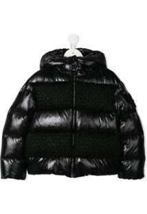 Moncler Kids Tweed-Panel Padded Jacket - Preto