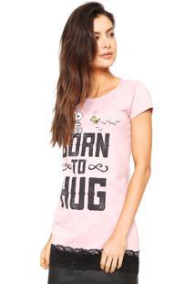 Camiseta Snoopy Renda Rosa