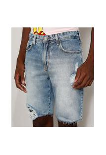 Bermuda Jeans Masculina Slim Destroyed Marmorizada Azul Claro