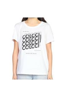 Camiseta Colcci Confort Estampada Branco Feminino