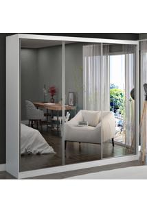 Guarda-Roupa Casal 3 Portas De Correr 3 Espelhos 100% Mdf 8804E3 Branco - Foscarini
