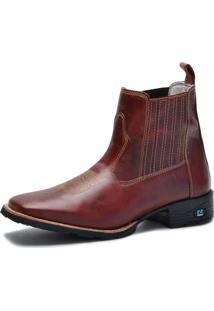 Bota Country Over Boots Bico Quadrado Couro Vermelho Escuro - Kanui