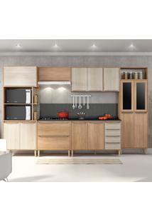 Cozinha Compacta C/Tampo Allure09 Fosco – Fellicci - Carvalho / Blanche