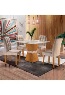 Conjunto De Mesa De Jantar Com 4 Cadeiras Vitoria L Suede Off White E Bege